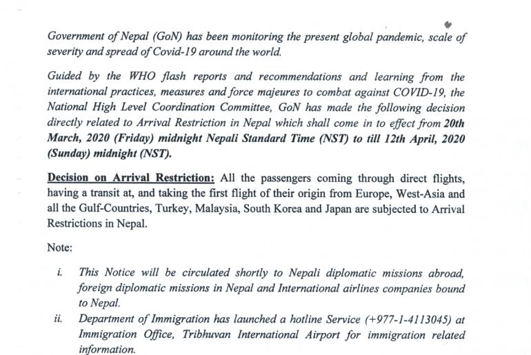 Kürzung der Flugrouten nach Nepal wegen Corona